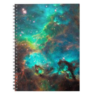 Cúmulo de estrellas imponente de la aguamarina libretas espirales