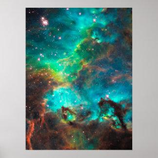 Cúmulo de estrellas imponente de la aguamarina posters