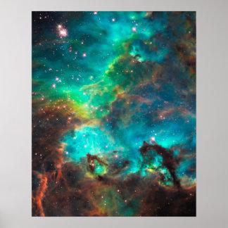 Cúmulo de estrellas imponente de la aguamarina poster