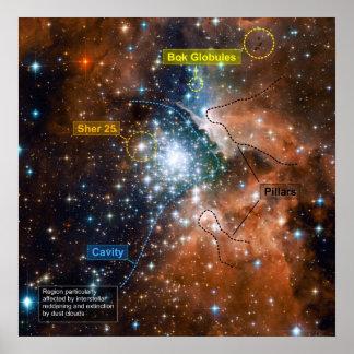 Cúmulo de estrellas NGC 3603 con anotaciones Poster
