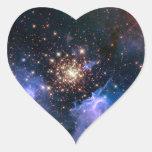 Cúmulo de estrellas NGC 3603 (Hubble) Pegatinas Corazon Personalizadas