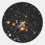 Cúmulo de estrellas pegatinas redondas