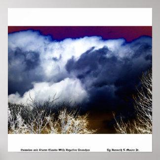 Cúmulo y nubes de tormenta con las ramas negativas posters