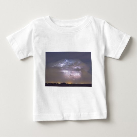 Cumulonimbus Lightning Storm and Star Trails Above Baby T-Shirt
