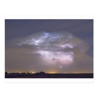 Cumulonimbus Lightning Storm and Star Trails Above Postcard
