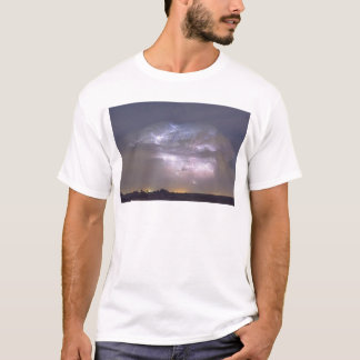 Cumulonimbus Lightning Storm and Star Trails Above T-Shirt
