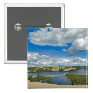 Cumulus clouds float above lakes, Northwest Pinback Button