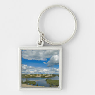 Cumulus clouds float above lakes, Northwest Silver-Colored Square Keychain