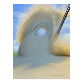 cuña de arena que golpea una pelota de golf fuera tarjetas postales