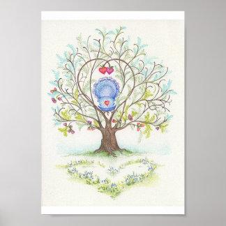 Cuna del bebé en un árbol de corazones y del amor póster