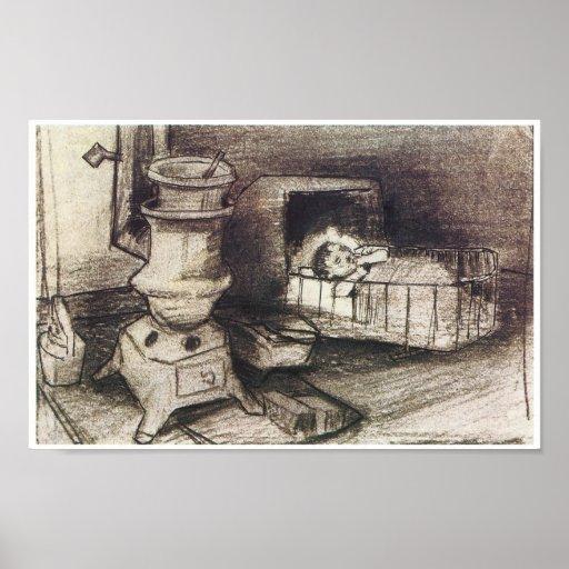 Cuna, dibujo de Vincent van Gogh Póster