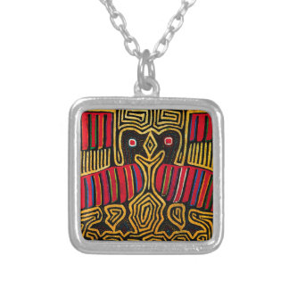 Cuna Indian Mola Duck Design Silver Plated Necklace