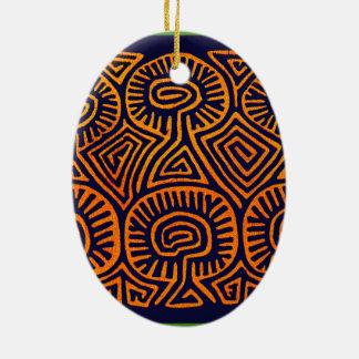 Cuna Indian Mushroom Demons Ceramic Ornament