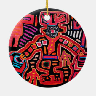 Cuna Indian Tribal Shaman With Fans Ceramic Ornament