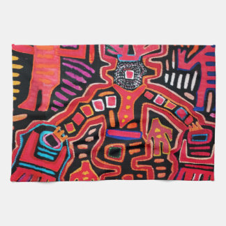 Cuna Indian Tribal Shaman With Fans Kitchen Towel