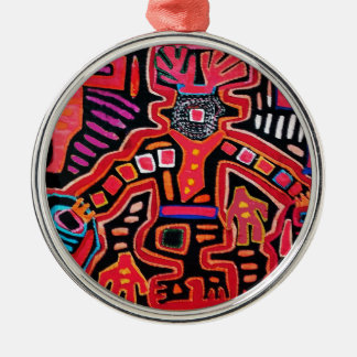 Cuna Indian Tribal Shaman With Fans Metal Ornament