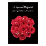 Cuñada a ser tarjeta de la dama de honor -- Rosas