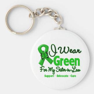 Cuñada - cinta verde de la conciencia llavero redondo tipo pin