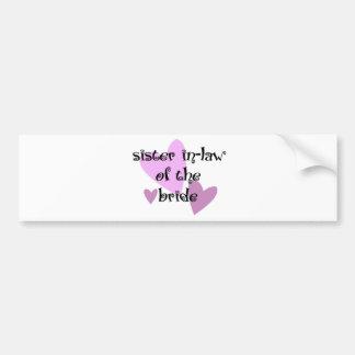 Cuñada de la novia etiqueta de parachoque
