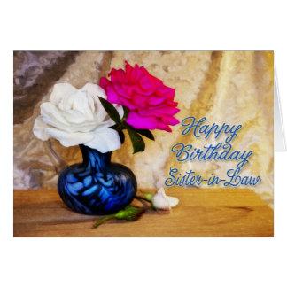 Cuñada, feliz cumpleaños con los rosas pintados tarjeta de felicitación