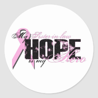 Cuñada mi héroe - esperanza del cáncer de pecho etiqueta redonda