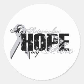 Cuñada mi héroe - esperanza del pulmón etiqueta redonda