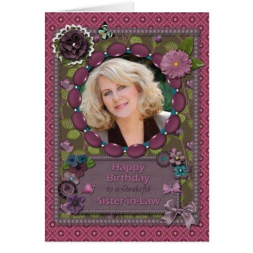 Cuñada, tarjeta de la foto para un cumpleaños