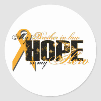 Cuñado mi héroe - esperanza de la leucemia etiqueta redonda