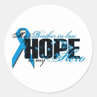 Cuñado mi héroe - esperanza de la próstata etiqueta redonda
