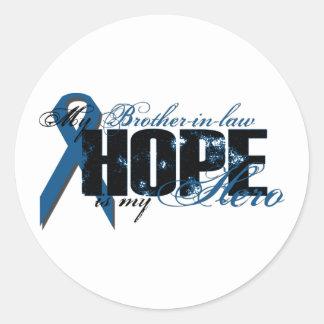 Cuñado mi héroe - esperanza del cáncer de colon pegatina redonda