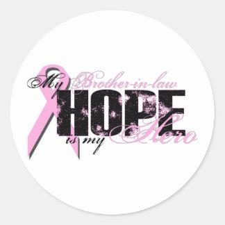 Cuñado mi héroe - esperanza del cáncer de pecho etiquetas redondas