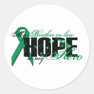 Cuñado mi héroe - esperanza del cáncer del riñón pegatinas redondas