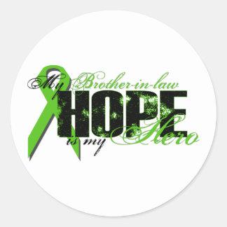 Cuñado mi héroe - esperanza del linfoma pegatinas redondas
