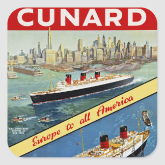 Cunard Europa a toda la América Colcomanias Cuadradas Personalizadas