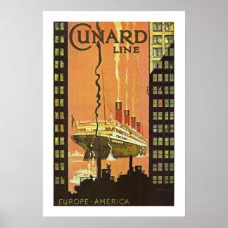 Cunard Europa-América Poster