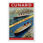 Cunard Europe to all America Poster