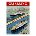 Cunard ~ Europe To All America ~ Vintage Travel Poster