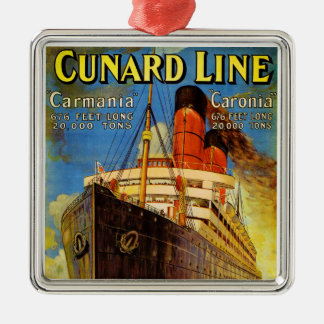 Cunard Line ~ Carmania and Caronia Metal Ornament