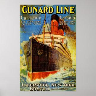 Cunard Line ~ Carmania and Caronia Poster