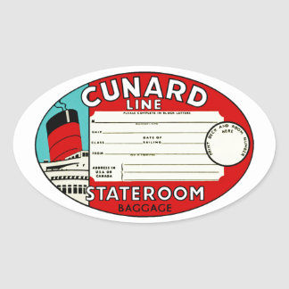 Cunard Line Luggage Label Oval Stickers