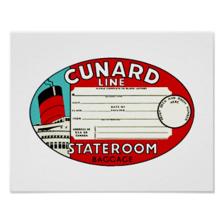Cunard Line Luggage Label Poster