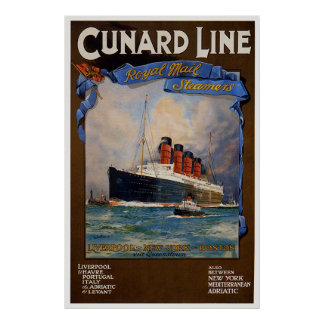 Cunard Line -Lusitania Poster