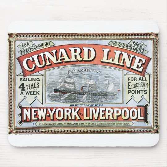 Cunard Line New York Liverpool 1875 Mouse Pad