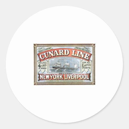 Cunard Line New York Liverpool 1875 Stickers