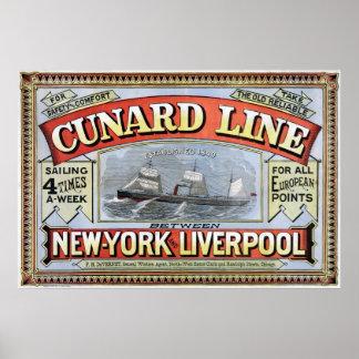 Cunard Line New York Liverpool Poster