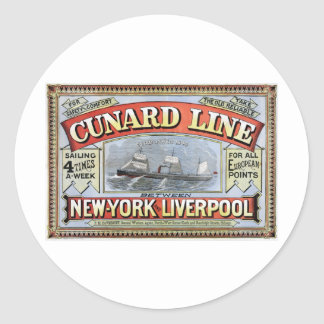 Cunard Line New York Liverpool Poster Classic Round Sticker