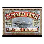 Cunard Line New York Liverpool Poster Postcard