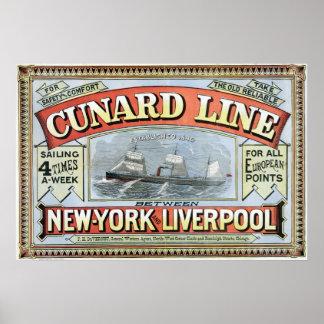 Cunard Line New York-Liverpool Vintage Poster