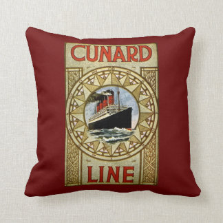 Cunard Line Vintage Cruise Line Advertisement Throw Pillow