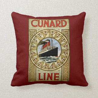 Cunard Line Vintage Cruise Line Advertisement Throw Pillow